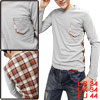 Spring Check Pattern Back One Pocket Long Sleeve Light Gray Shirt...