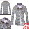 Korea Spring New Fashion White Yellow Leopard Prints Buttoned Up Mens Shirt M