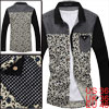 Spring New Fashion Dark Blue Flower Prints Knitting Patch Thin Shirt For Mens S