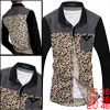 Mens Korea Stylish Point Collar Single Breasted Dark Red Floral Prints Shirt S