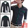 Mans Dark Blue White Dots One Chest Pocket Single Breasted Korea ...