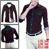 Mans Long Sleeve Button Closure Dots Fit Shirts Dark Blue Red S
