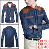 Mens Dark Blue Point Collar Faded Casual Buttoned Cuff Denim S
