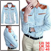 Mens Light Blue Faux Leather Patchwork Long Sleeves Denim Shirt S