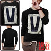Long Sleeve Round Neck Letter Design Graphic Tee Shirt Black For ...