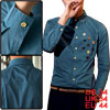 Mans Single Breasted Point Collar Long Sleeve Dark Blue Top Shirt...