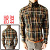 Mens Point Collar Long Sleeve Button Closure Check Shirt S Dark G...