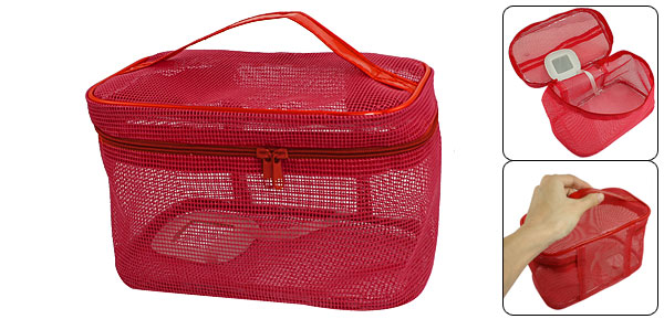 Lady Zipper Closure Red Hollow Grid Design Plastic Cosmetic Pouch Bag w Mirror
