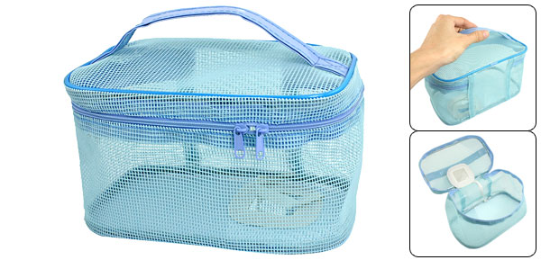 Lady Hollow Out Design Travel Dual Zippered Plastic Cosmetic Bag Light Blue