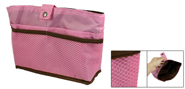 Portable Pink Zipper Closure 4 Compartments Design Hand Purse Bag for Ladies