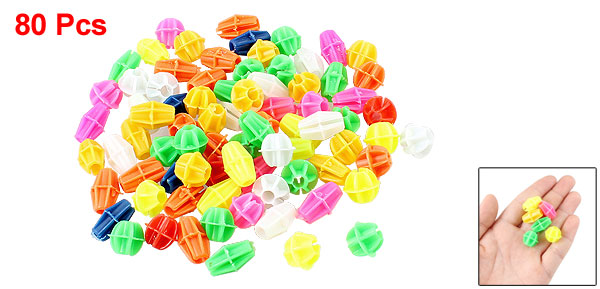 80 Pcs Multicolor Cylindrical Oval Shape Plastic Bicycle Spoke Beads