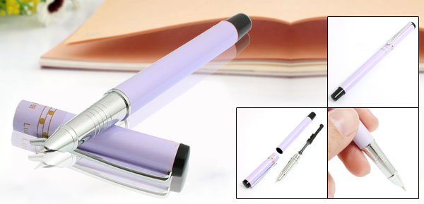 Black Purple Alloy Shell 0.65mm Hooded Nib Writing Fountain Pen for Students