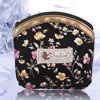 Pink Yellow Flower Pattern Portable Zippered Money Purse Black