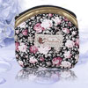 Woman Portable Zippered Pink Peony Pattern Money Coin Purse
