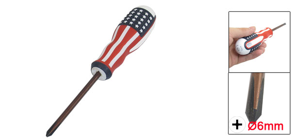 American Flag Printed Nonslip Handle 6mm Magnetic Tip Phillips Screwdriver