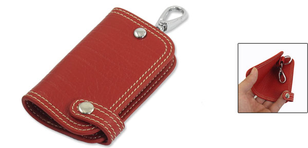 Folding Press Stud Button Single Keyring Key Bag Red