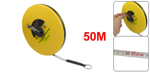 50M Yellow Round Cover Retractable Measuring Tool Tape Measure