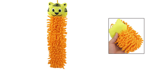 Yellow Cartoon Tiger Shaped Wall Hanging Hand Towel Washcloth Orange