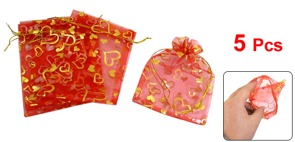 5 Pcs Gold Tone Heart Pattern Red Organza Wedding Candy Bag