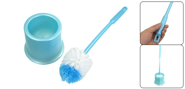 Home Hotel Cyan Plastic Cleaning Tool Toilet Brush + Holder