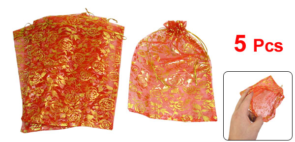 5 Pcs Gold Tone Flower Pattern Red Organza Wedding Candy Bag 9