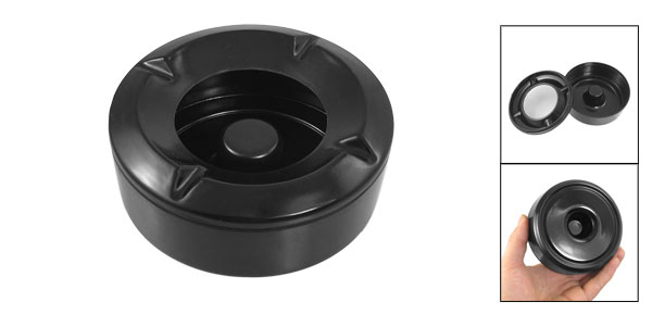 Home Black Plastic Round Cigarette Ash Holder Ashtray