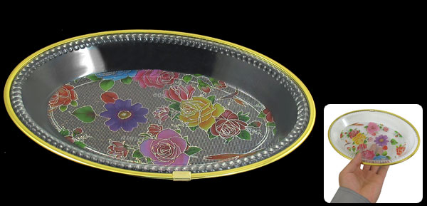 Kitchenware Ellipse Gold Tone Brim Flower Print Base Fruit Holder Plate Bowl