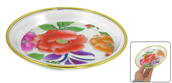 Floral Printed Round Shaped Gold Tone Edge Clear Plastic Fruit Plate Bowl