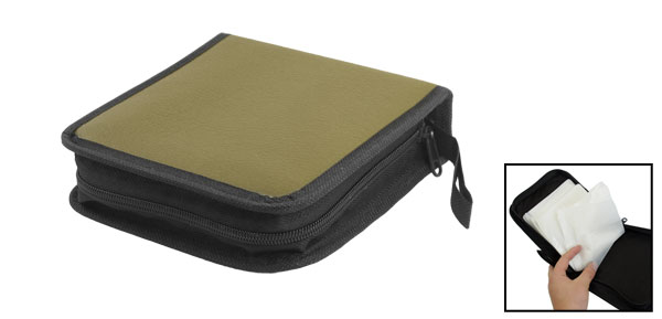 Faux Leather 40 Disc CD VCD Wallet Storage Holder Bag Case Olive Green