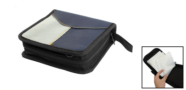Faux Leather 40pcs CD VCD Disc Wallet Storage Holder Bag Case Navy Blue Gray