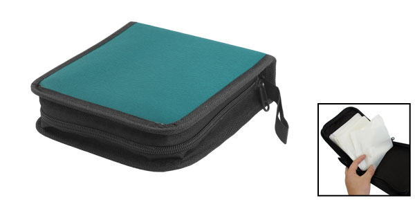 Portable 40pcs CD DVD VCD Disc Sleeve Zipper Bag Teal Green w Hand Strap