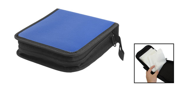 Blue Faux Leather Cover Zipper 40 Capacity CD DVD Holder Bag Case