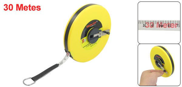 Manual Retract Ruler Tape Line Measure Yellow 30M 98.4Ft Length