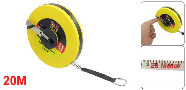 Yellow Round Plastic Case Measuring Tool Flexible Tape Measure 20M