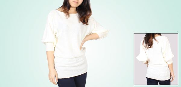 Ladies Spring Autumn Wear Boat Neck 3/4 Batwing Sleeves Pullover Stretchy Sweater White S