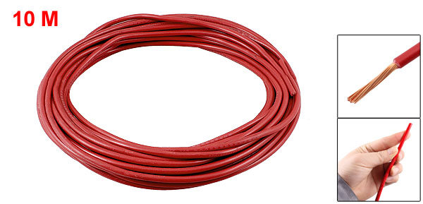 Red PVC Coated 6mm2 Copper Conductor Flexible Electric Wire 10M 32.8FT