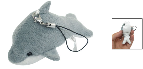Plush Dolphin Dangle Pendant Cell Phone Mp3 Mp4 Pendant Strap String Gray White