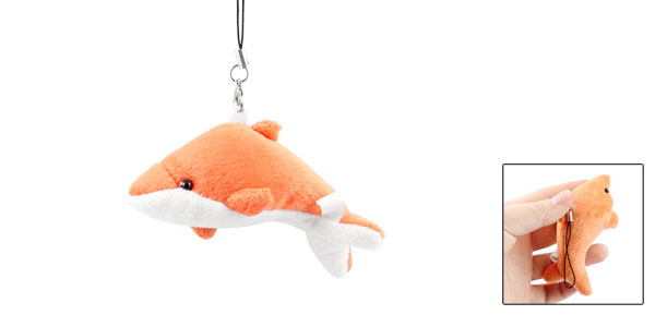 Orange White Plush Dolphin Pendant Mobile Phone Strap String Hanging Decoration