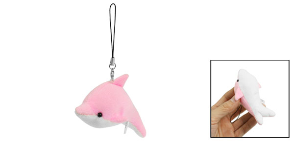 Pink White Plush Dolphin Pendant Mobile Phone Strap String Hanging Decoration