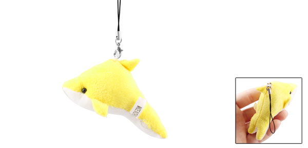 Yellow White Plush Dolphin Pendant Mobile Phone Strap String Hanging Decoration