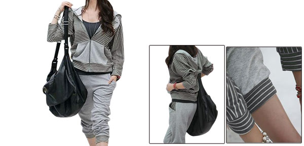 Women Stretchy Long-sleeved Zippers Front Hooded Tops w Pockets Pants Gray Xs