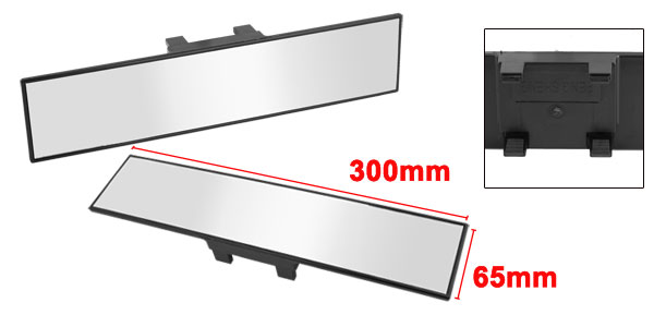 Truck Car Rectangle Black Plastic Rim Flat Rear View Glass Mirror 300mmx65mm