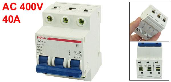 DZ47-63 C40 3P 35mm DIN Rail MCB Miniature Circuit Breaker 6000A 40A 400V AC