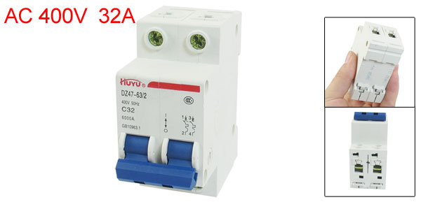 DZ47-63 C32 2 Pole 2P DIN Rail MCB Miniature Circuit Breaker 32A 400V AC