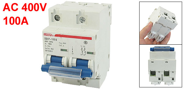 AC 400V 6000A Double Poles Miniature Circuit Breaker DIN Rail DZ47-100