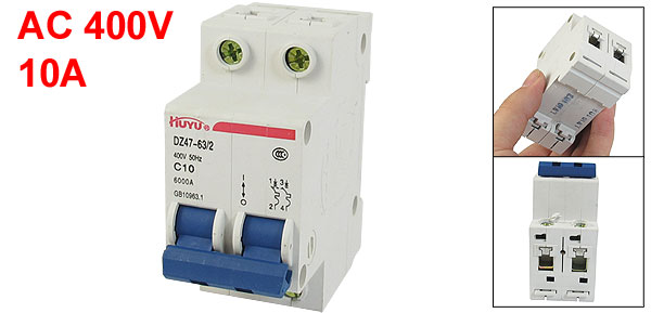AC 400V 10A 2 Pole 1P On/Off Switch Miniature Circuit Breaker DZ47-63 C10