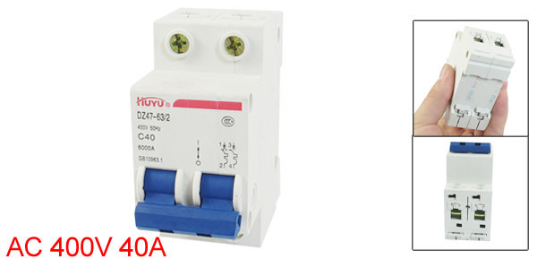 AC 400V 40A 6000A Double Pole Miniature Circuit Breaker DIN Rail DZ47-63 C40