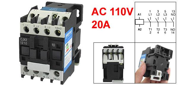 660V 3 Phase 3P N/O AC Contactor DIN Rail Mount 110V Coil CJX2-1210
