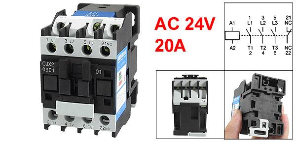 CJX2-0901 660V 20A 3 Poles 3P NC DIN Rail AC Contactor 24V Coil