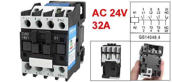 CJX2-1801 660V 32A 3 Poles 3P NC DIN Rail AC Contactor 24V Coil